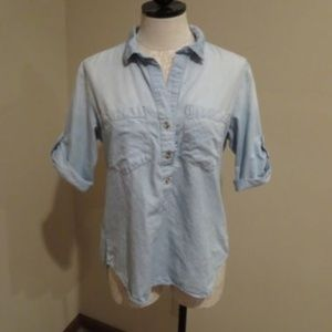Anthro Cloth & Stone striped popover chambray top